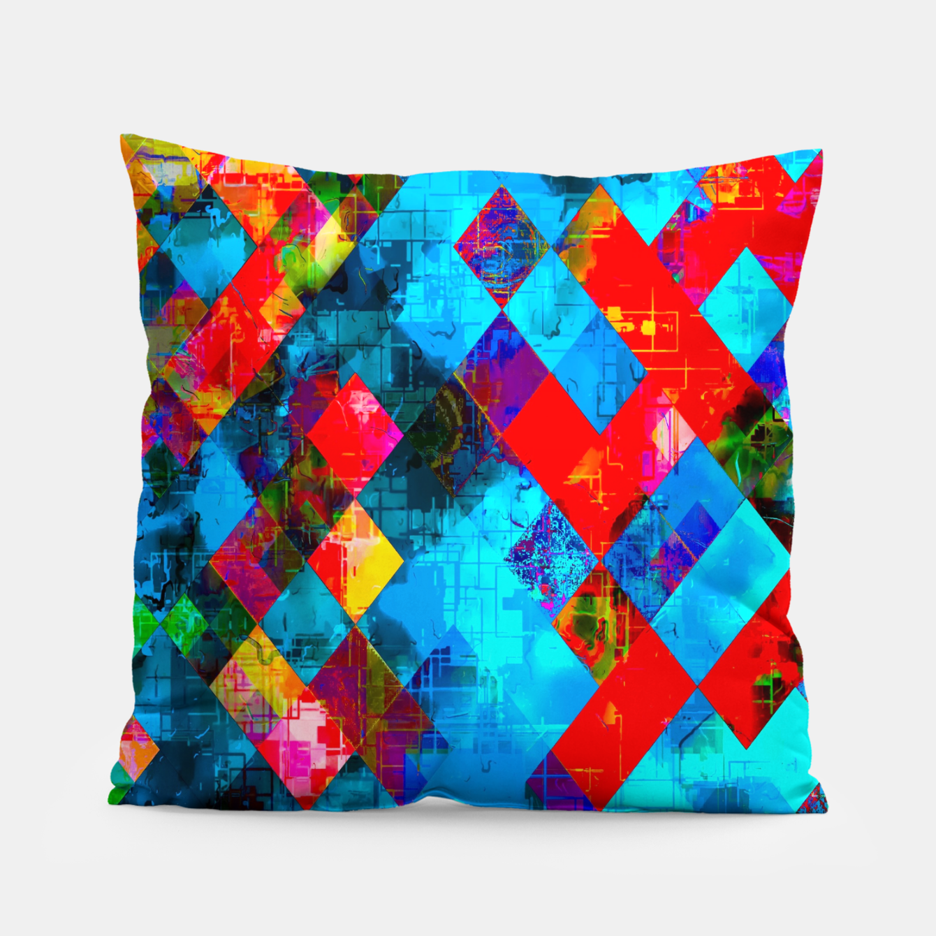 Image of colorful geometric pixel square pattern abstract background in blue red pink Pillow - Live Heroes