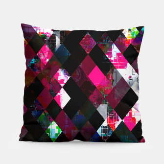 Thumbnail image of pink geometric pixel square pattern abstract art background Pillow, Live Heroes