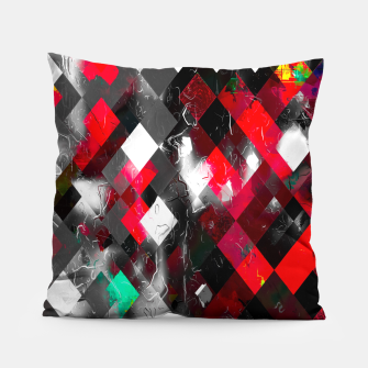 Thumbnail image of red geometric pixel square pattern abstract art background Pillow, Live Heroes