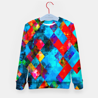 Thumbnail image of colorful geometric pixel square pattern abstract background in blue red pink Kid's sweater, Live Heroes
