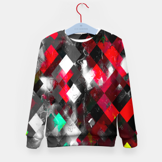Thumbnail image of red geometric pixel square pattern abstract art background Kid's sweater, Live Heroes