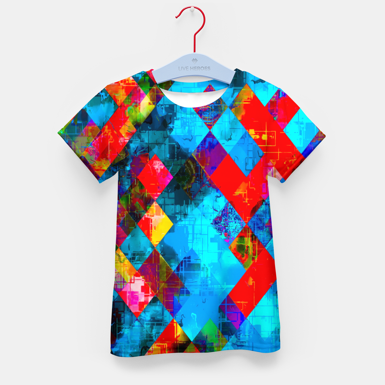Image of colorful geometric pixel square pattern abstract background in blue red pink Kid's t-shirt - Live Heroes