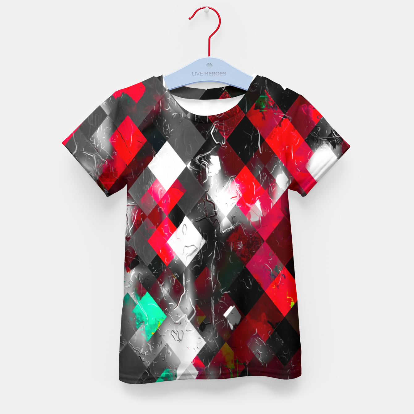 Image of red geometric pixel square pattern abstract art background Kid's t-shirt - Live Heroes