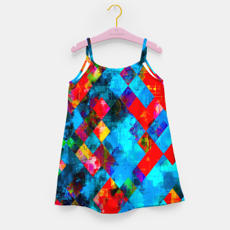 Thumbnail image of colorful geometric pixel square pattern abstract background in blue red pink Girl's dress, Live Heroes