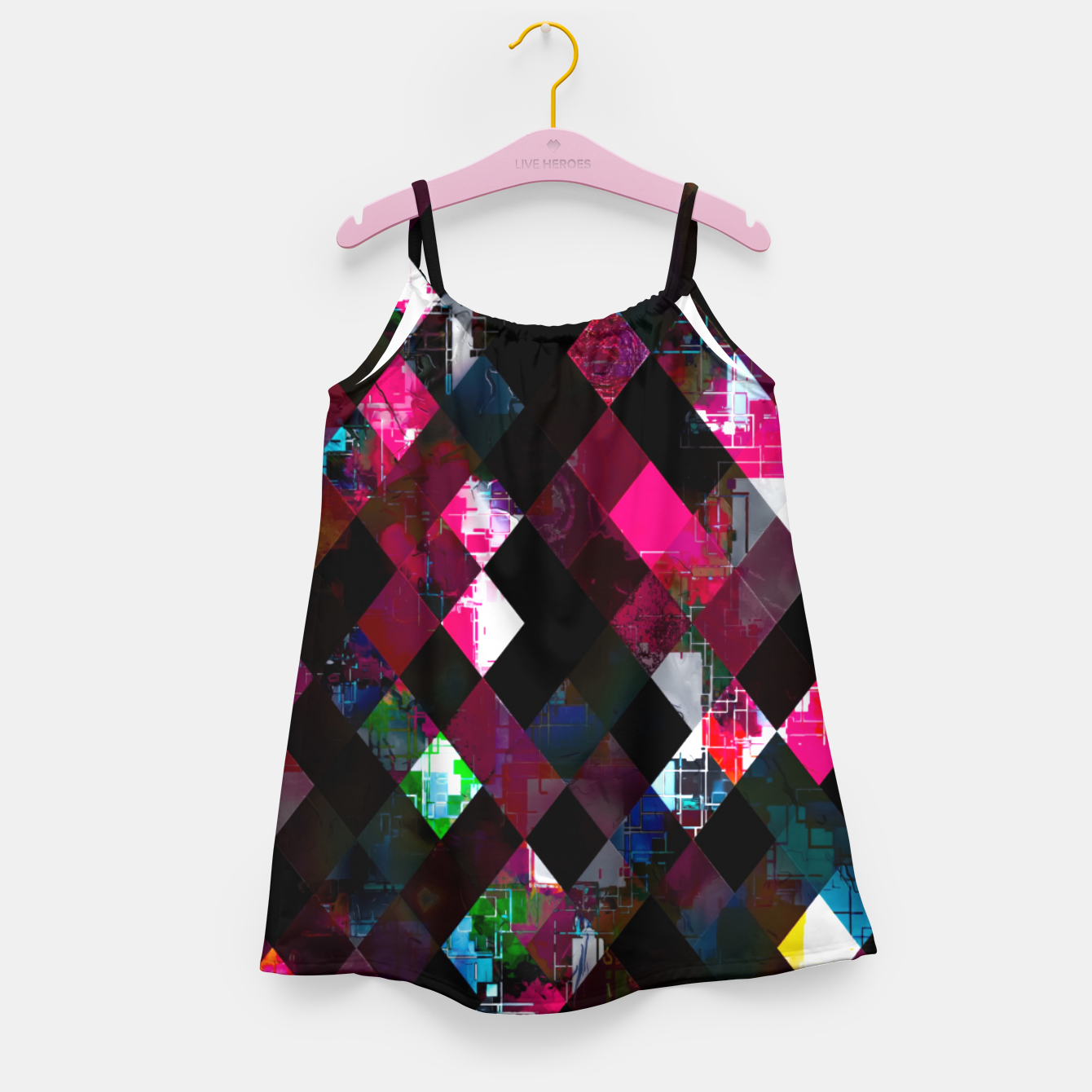 Image of pink geometric pixel square pattern abstract art background Girl's dress - Live Heroes
