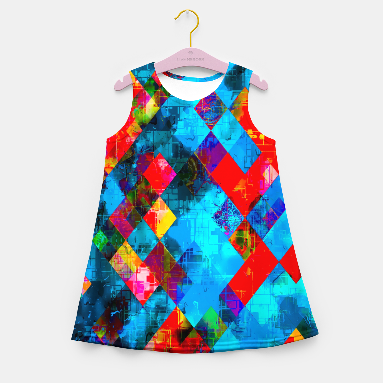 Image of colorful geometric pixel square pattern abstract background in blue red pink Girl's summer dress - Live Heroes