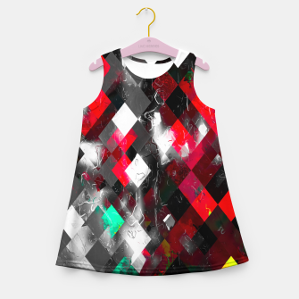 Thumbnail image of red geometric pixel square pattern abstract art background Girl's summer dress, Live Heroes