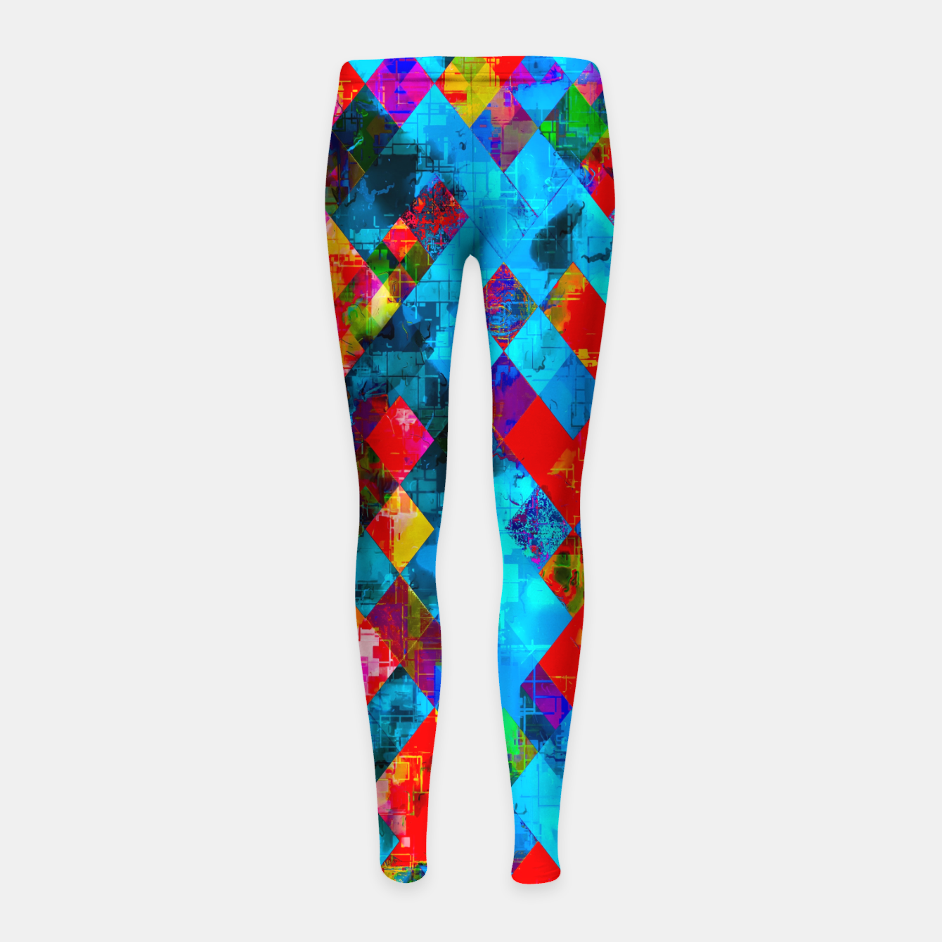 Image of colorful geometric pixel square pattern abstract background in blue red pink Girl's leggings - Live Heroes