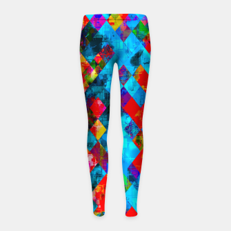 Thumbnail image of colorful geometric pixel square pattern abstract background in blue red pink Girl's leggings, Live Heroes