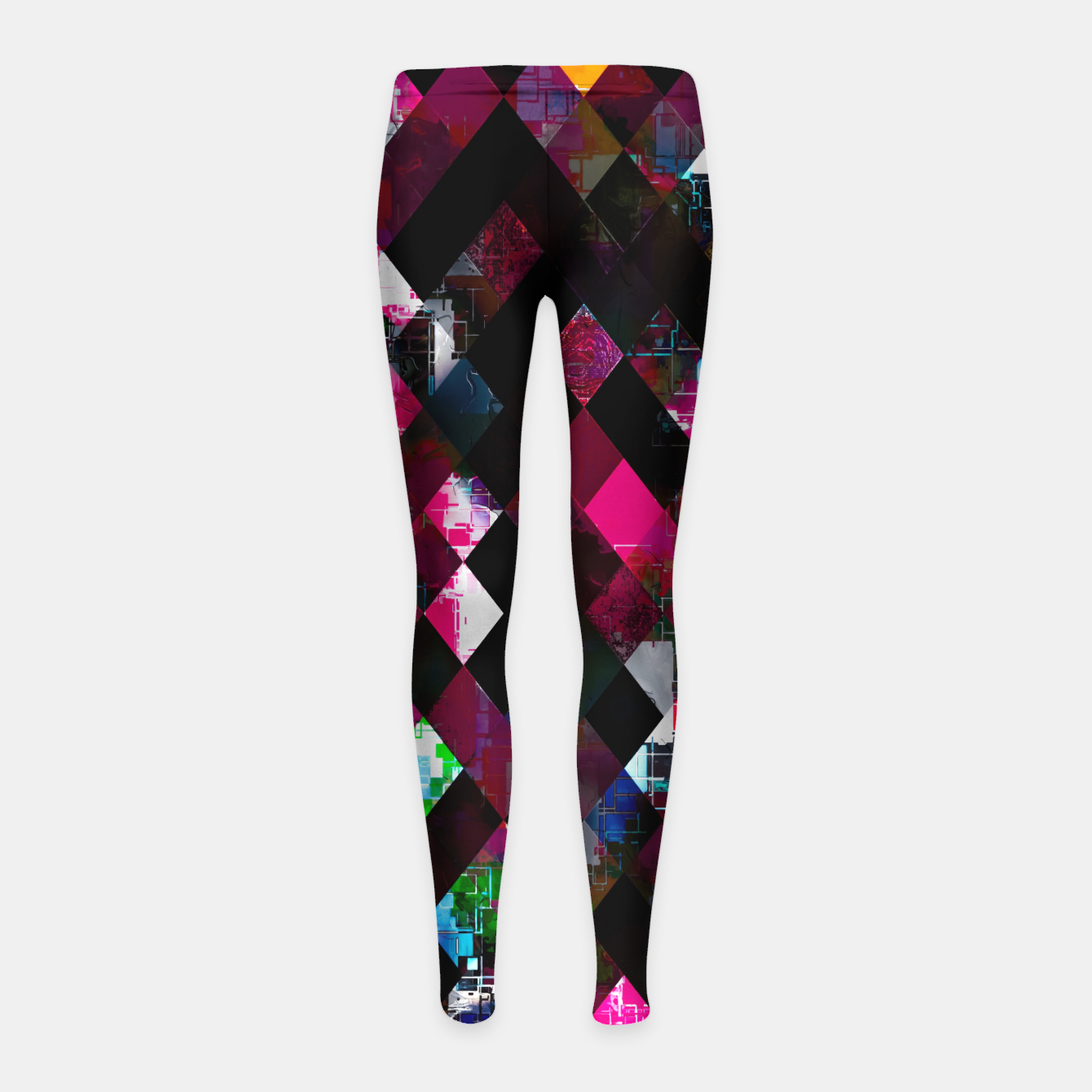 Image of pink geometric pixel square pattern abstract art background Girl's leggings - Live Heroes