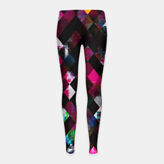 Thumbnail image of pink geometric pixel square pattern abstract art background Girl's leggings, Live Heroes