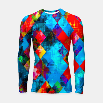 Thumbnail image of colorful geometric pixel square pattern abstract background in blue red pink Longsleeve rashguard , Live Heroes
