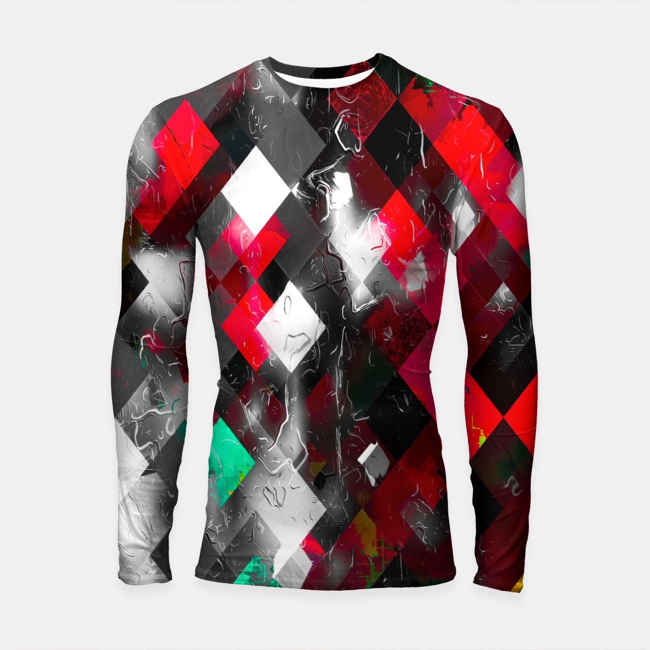 Image of red geometric pixel square pattern abstract art background Longsleeve rashguard  - Live Heroes