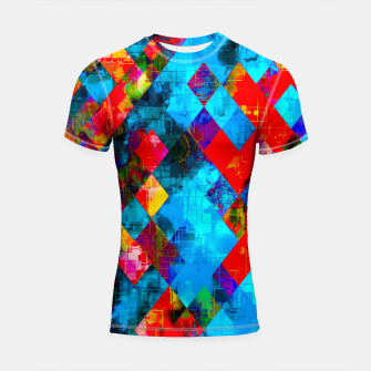 Thumbnail image of colorful geometric pixel square pattern abstract background in blue red pink Shortsleeve rashguard, Live Heroes