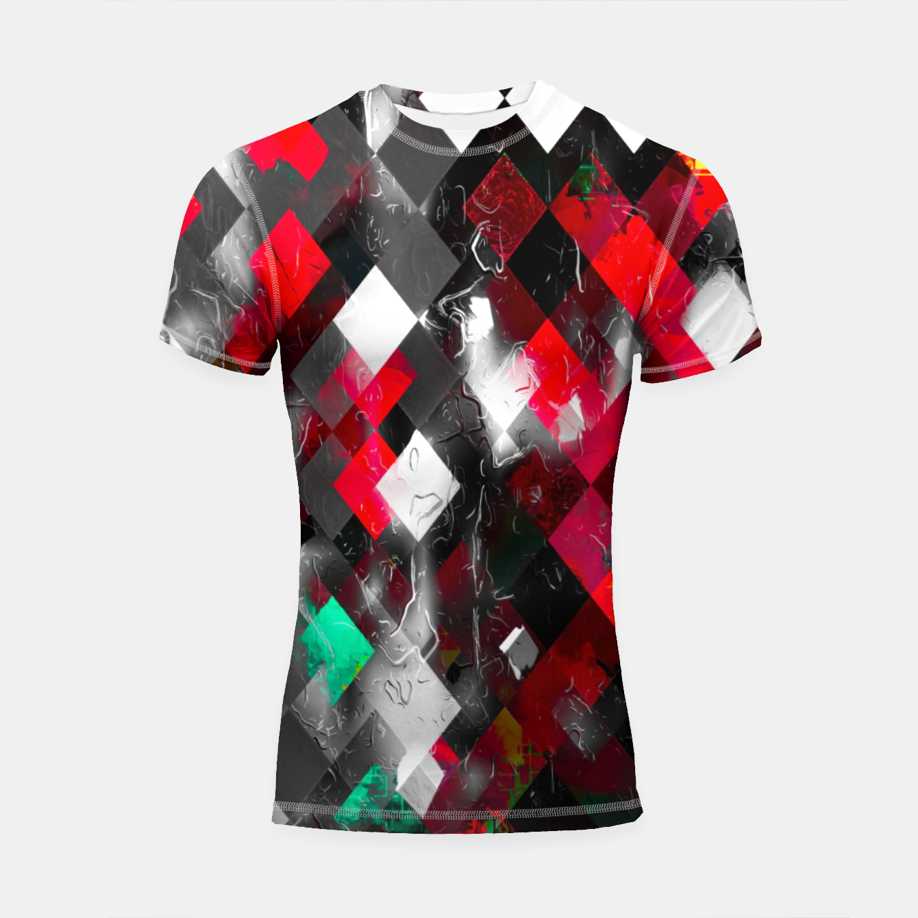 Image of red geometric pixel square pattern abstract art background Shortsleeve rashguard - Live Heroes