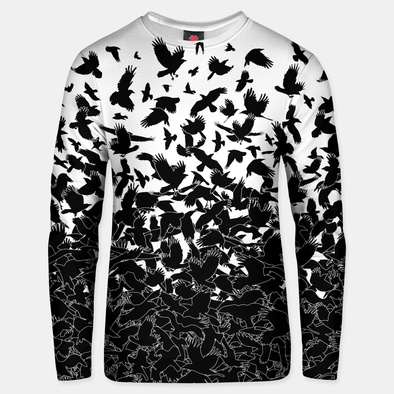 Image of Raven Crow Flying Birds Abstract Goth Halloween Pattern Unisex sweater - Live Heroes