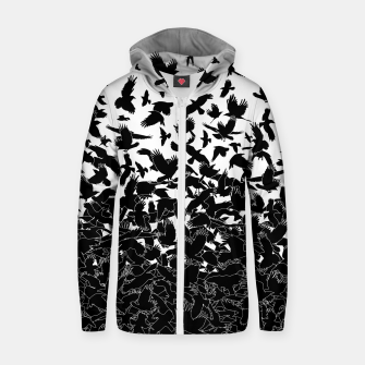 Thumbnail image of Raven Crow Flying Birds Abstract Goth Halloween Pattern Zip up hoodie, Live Heroes