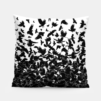 Miniatur Raven Crow Flying Birds Abstract Goth Halloween Pattern Pillow, Live Heroes