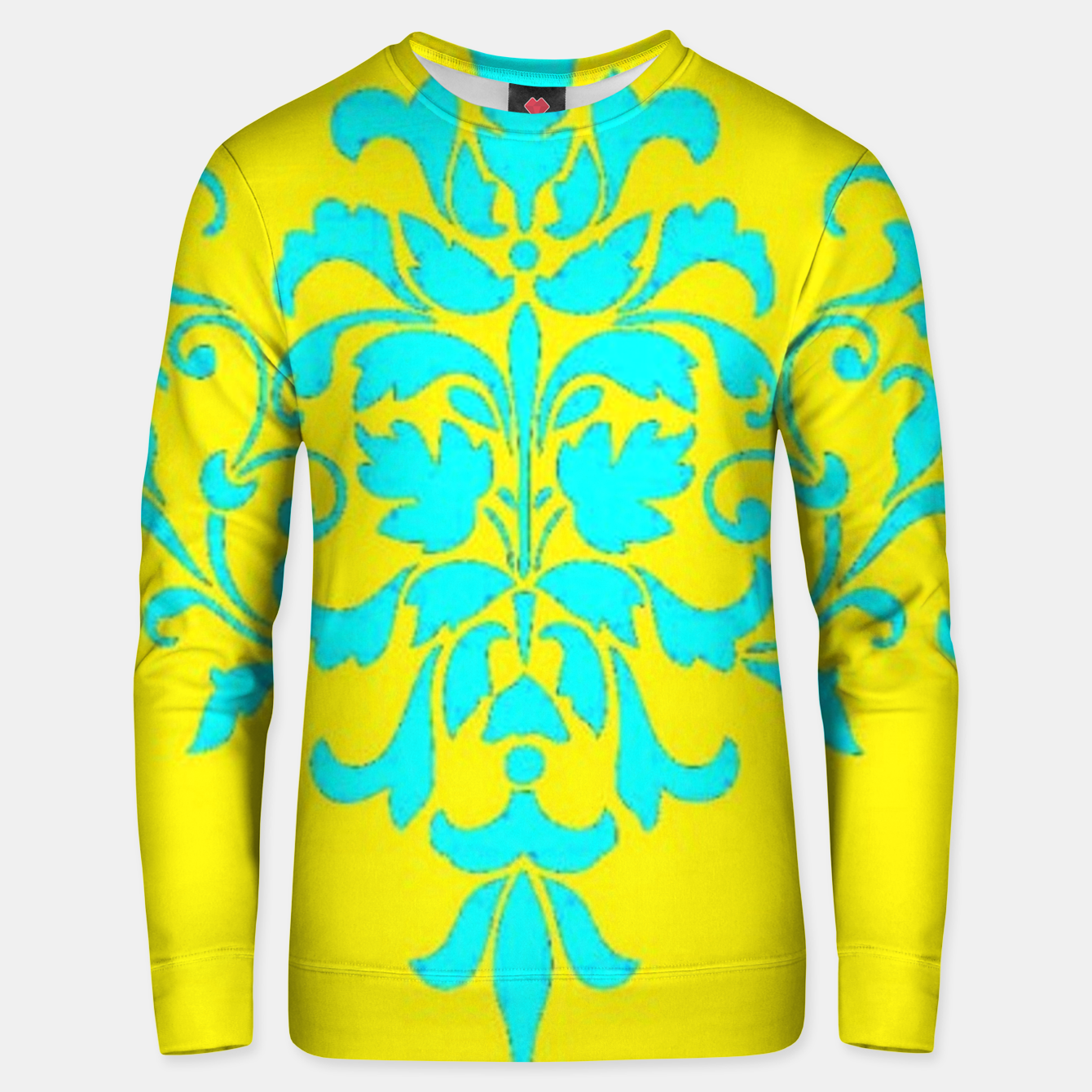 Image of Blue damask on yellow Unisex sweater - Live Heroes