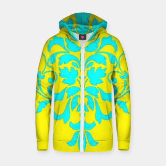 Thumbnail image of Blue damask on yellow Zip up hoodie, Live Heroes