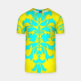 Thumbnail image of Blue damask on yellow T-shirt, Live Heroes