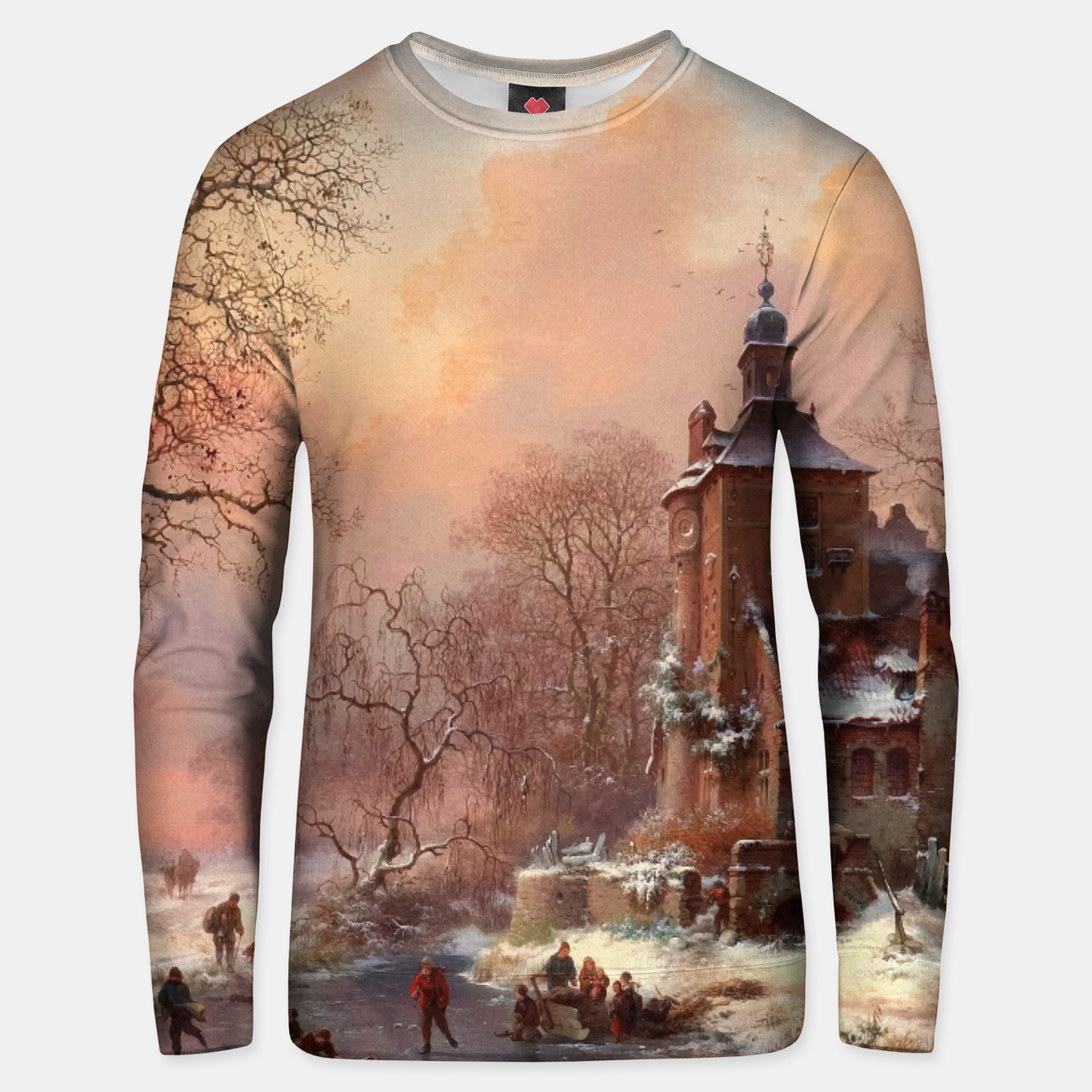 Image of Winter Landscape with Skaters on a Frozen River by Frederik Marinus Kruseman Unisex sweater - Live Heroes