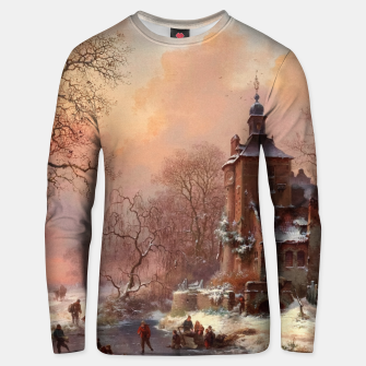Thumbnail image of Winter Landscape with Skaters on a Frozen River by Frederik Marinus Kruseman Unisex sweater, Live Heroes