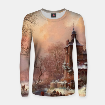 Thumbnail image of Winter Landscape with Skaters on a Frozen River by Frederik Marinus Kruseman Women sweater, Live Heroes