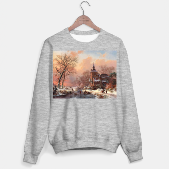 Thumbnail image of Winter Landscape with Skaters on a Frozen River by Frederik Marinus Kruseman Sweater regular, Live Heroes