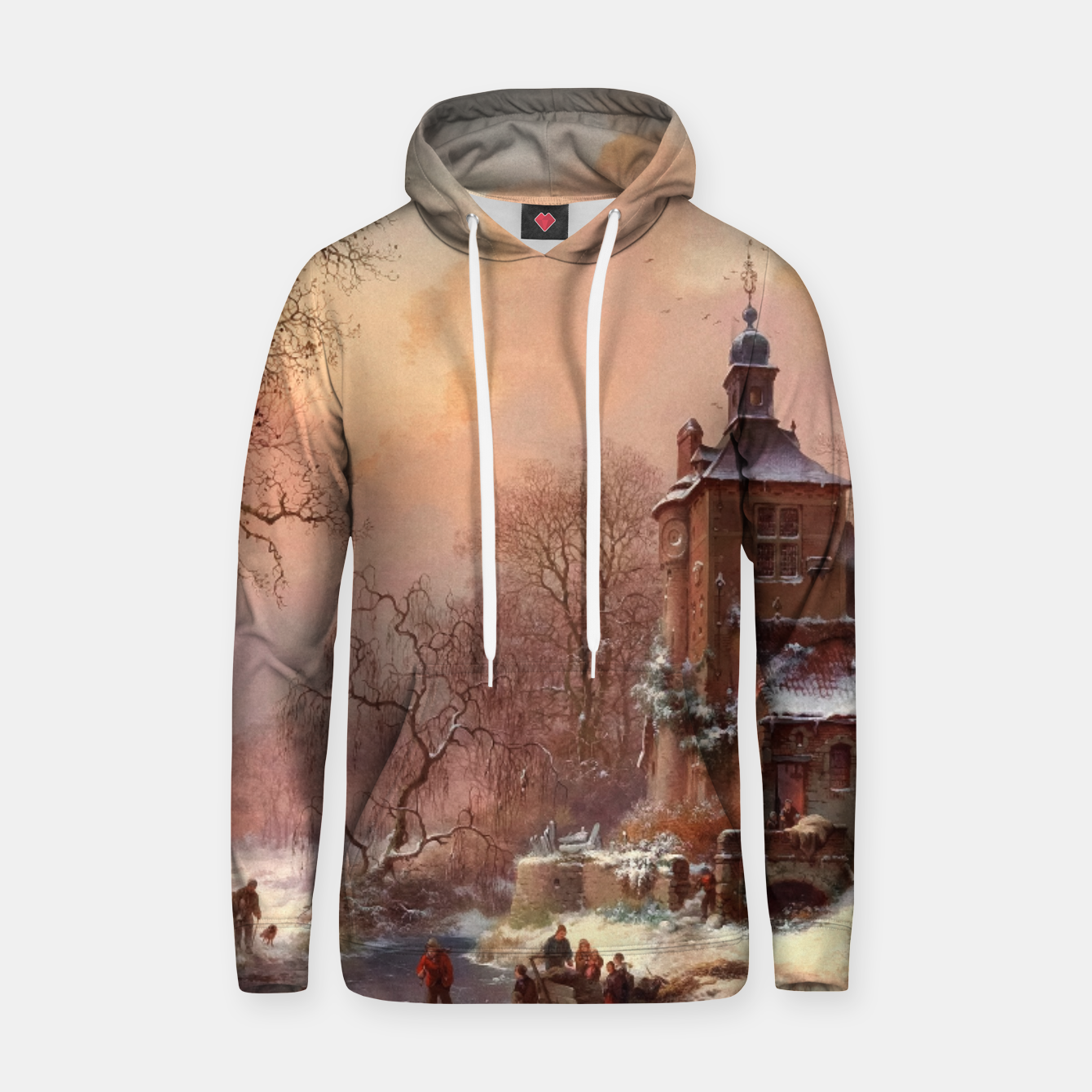 Image of Winter Landscape with Skaters on a Frozen River by Frederik Marinus Kruseman Hoodie - Live Heroes