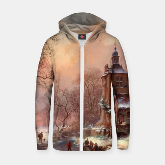 Thumbnail image of Winter Landscape with Skaters on a Frozen River by Frederik Marinus Kruseman Zip up hoodie, Live Heroes