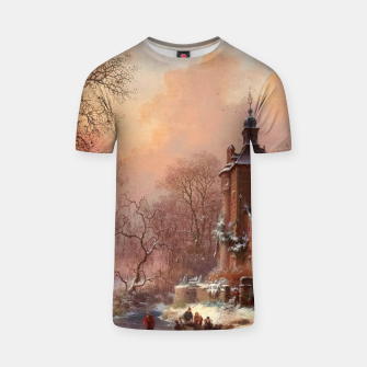Thumbnail image of Winter Landscape with Skaters on a Frozen River by Frederik Marinus Kruseman T-shirt, Live Heroes