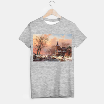 Thumbnail image of Winter Landscape with Skaters on a Frozen River by Frederik Marinus Kruseman T-shirt regular, Live Heroes