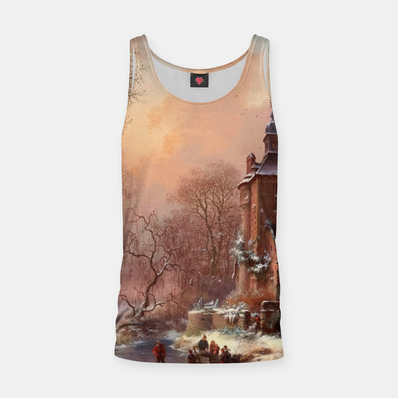 Image of Winter Landscape with Skaters on a Frozen River by Frederik Marinus Kruseman Tank Top - Live Heroes