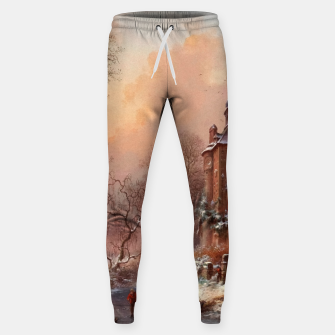 Thumbnail image of Winter Landscape with Skaters on a Frozen River by Frederik Marinus Kruseman Sweatpants, Live Heroes