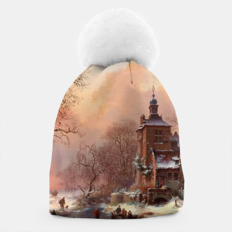 Thumbnail image of Winter Landscape with Skaters on a Frozen River by Frederik Marinus Kruseman Beanie, Live Heroes