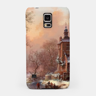 Thumbnail image of Winter Landscape with Skaters on a Frozen River by Frederik Marinus Kruseman Samsung Case, Live Heroes