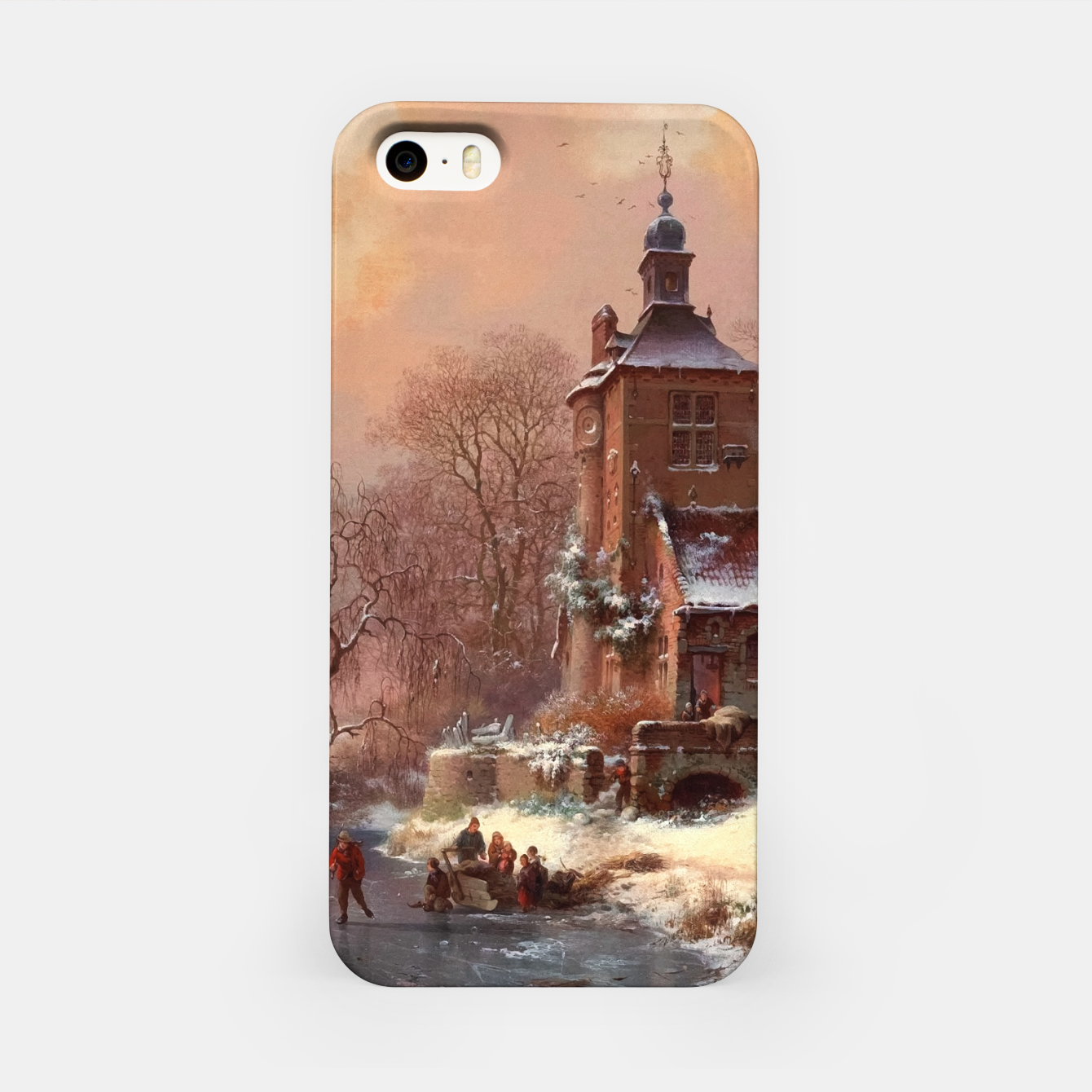 Image of Winter Landscape with Skaters on a Frozen River by Frederik Marinus Kruseman iPhone Case - Live Heroes