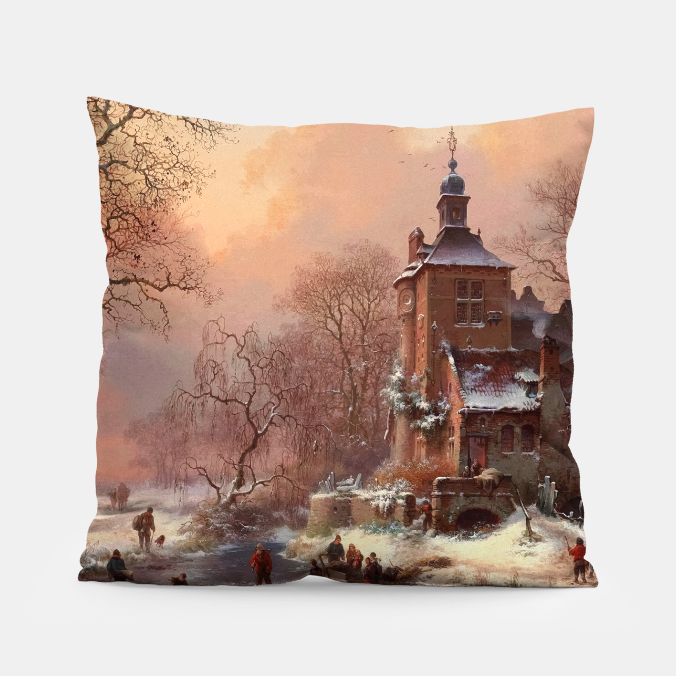 Image of Winter Landscape with Skaters on a Frozen River by Frederik Marinus Kruseman Pillow - Live Heroes