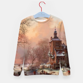 Thumbnail image of Winter Landscape with Skaters on a Frozen River by Frederik Marinus Kruseman Kid's sweater, Live Heroes