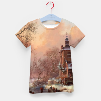 Thumbnail image of Winter Landscape with Skaters on a Frozen River by Frederik Marinus Kruseman Kid's t-shirt, Live Heroes