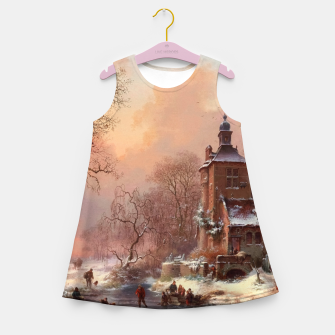 Thumbnail image of Winter Landscape with Skaters on a Frozen River by Frederik Marinus Kruseman Girl's summer dress, Live Heroes
