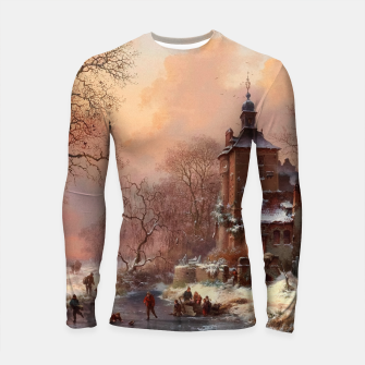 Thumbnail image of Winter Landscape with Skaters on a Frozen River by Frederik Marinus Kruseman Longsleeve rashguard , Live Heroes