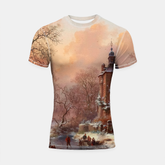 Thumbnail image of Winter Landscape with Skaters on a Frozen River by Frederik Marinus Kruseman Shortsleeve rashguard, Live Heroes