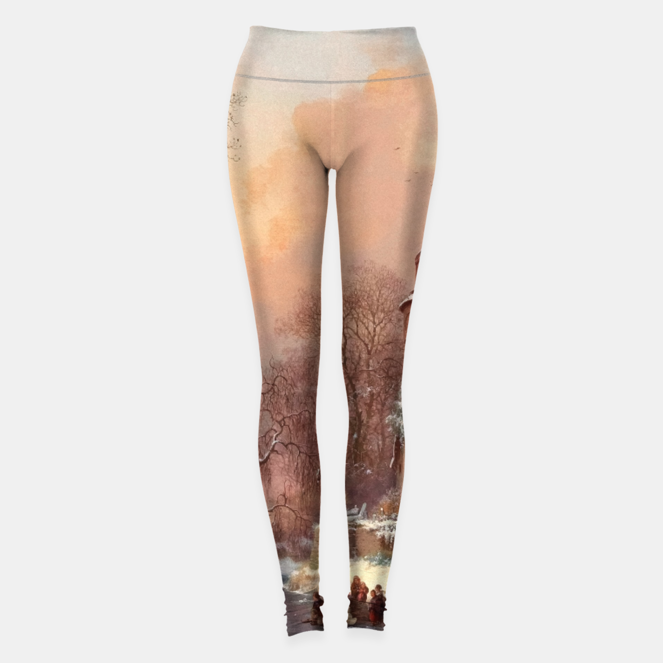 Image of Winter Landscape with Skaters on a Frozen River by Frederik Marinus Kruseman Leggings - Live Heroes