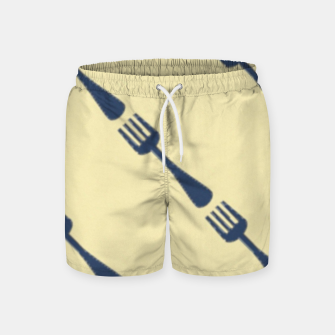 Thumbnail image of Forks on brown Swim Shorts, Live Heroes