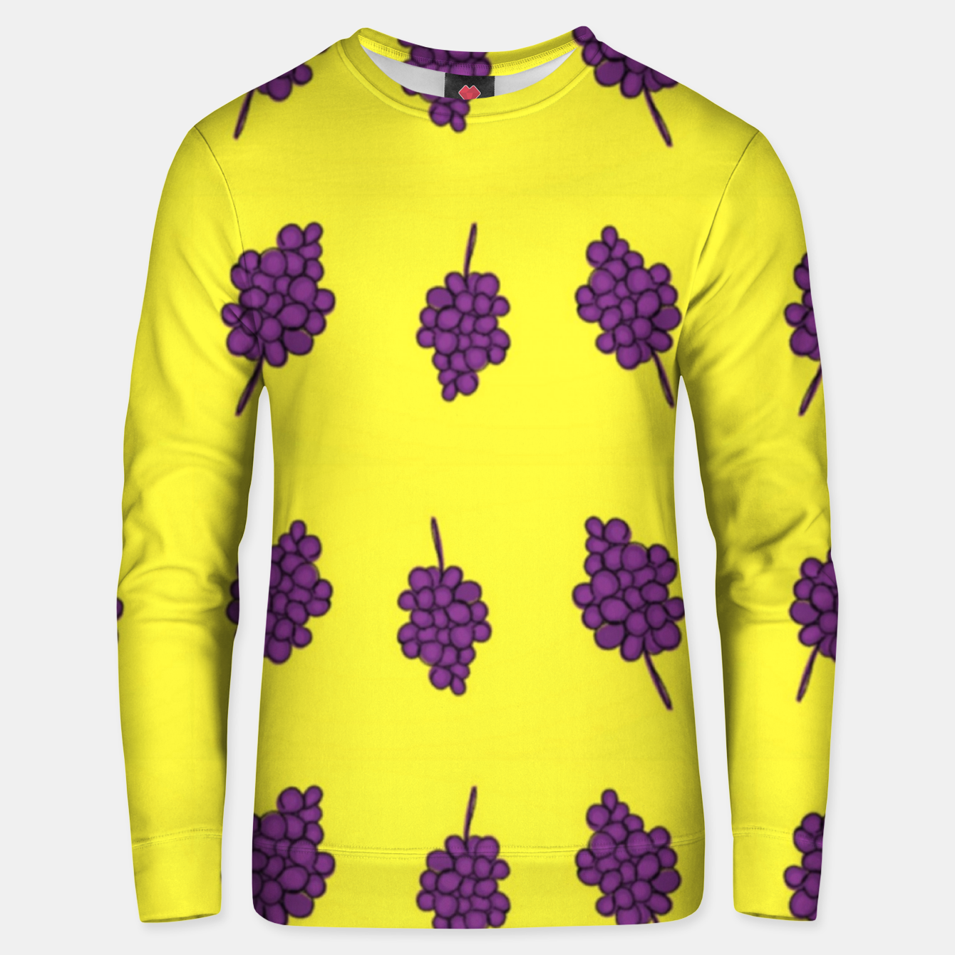 Image of Purple grapes on yellow Unisex sweater - Live Heroes