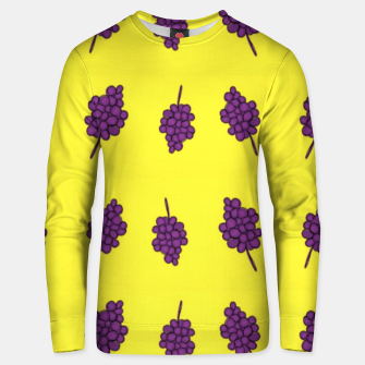 Thumbnail image of Purple grapes on yellow Unisex sweater, Live Heroes
