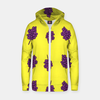 Thumbnail image of Purple grapes on yellow Zip up hoodie, Live Heroes