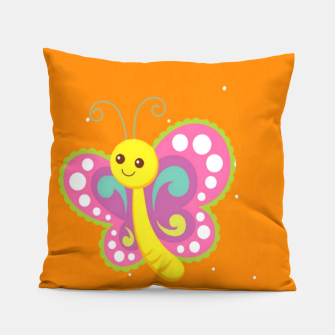 Thumbnail image of Cute butterfly on orange Pillow, Live Heroes